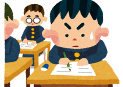 勉強に熱中する子供